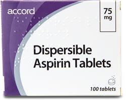 Accord Dispersible Aspirin 75mg 100 Tablets