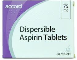 Accord Dispersible Aspirin 75mg 28 Tablets