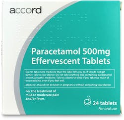 Accord Paracetamol 500mg 24 Effervescent Tablets