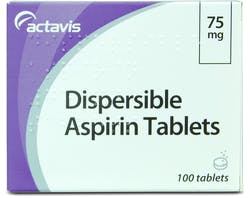 Actavis Dispersible Aspirin 75mg 100 Tablets