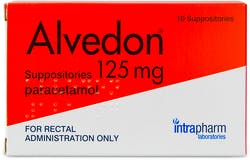 Alvedon Paracetamol Suppositories 125mg 10 Suppositories