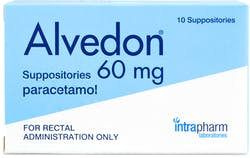 Alvedon Paracetamol Suppositories 60mg 10 Suppositories