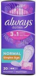 Always Dailies Singles Panty Liners Normal 20 Liners