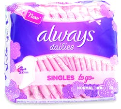 Always Dailies Singles To Go Panty Liners 20 Liners