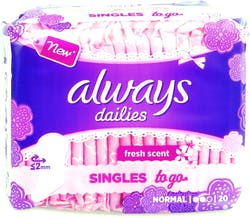 Always Dailies Singles To Go Scented 20 Liners
