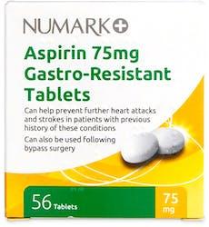 Numark Aspirin 75mg Gastro-Resistant 56 Tablets
