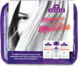 Aussie Minis Set 4pc 75ml Shampoo 2 x 20ml Conditioner Sachet & Bag