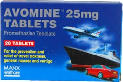 Avomine Travel Sickness Promethazine 25mg 28 Tablets