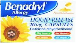 Benadryl Allergy Liquid Release 10mg - Lactose free 7 Capsule