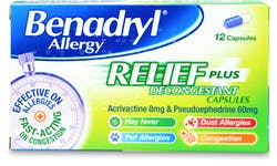 Benadryl Plus Allergy Relief Capsules 12 Capsules