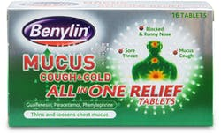 Benylin Mucus Cough & Cold All in One Tablets 16 Tablets