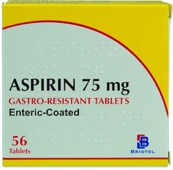 Bristol gastro-resistant 75mg Aspirin 56 Tablets