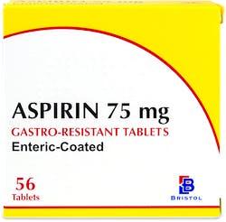 Bristol Aspirin 75mg Gastro-Resistant  56 Tablets