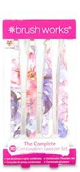 Brushworks Combination Tweezer Floral 4 Pack