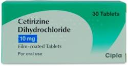 Cipla Cetirizine Hydrochloride 10mg 30 Tablets
