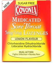 Covonia Sugar Free Sore Throat Lozenges Lemon 36s