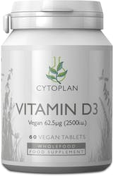 Cytoplan Vegan Vitamin D3 62.5μg 60 Tablets
