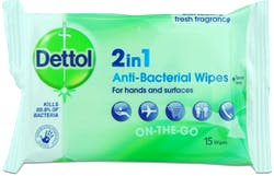 Dettol 2 in 1 Wipes 15s