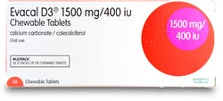 Evacal D3 1500mg Chewable 56 Tablets