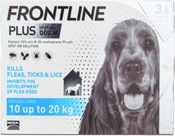 Frontline Plus Spot-on Dog Medium 3 Pipettes