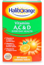 Haliborange Vitamins A, C & D 60 Orange Chewable Tablets