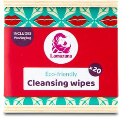 Lamazuna Cleansing Wipes with Wash Bag and Wood Box 20 Pack