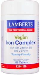 Lamberts Vegan Iron Complex (with Vitamin B12 and L-Lysine) 120 Tablets