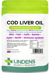 Lindens Cod Liver Oil 1000mg 90 Capsules