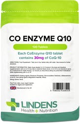 Lindens Health + Nutrition CoEnzyme Q10 30mg 120 Tablets