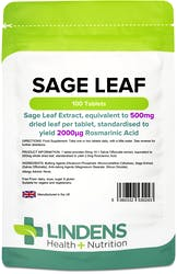 Lindens Sage (Sage Leaf 500mg) 100 Tablets