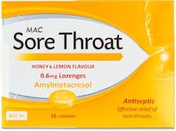 MAC Sore Throat Honey & Lemon 0.6Mmg Lozenge 16s