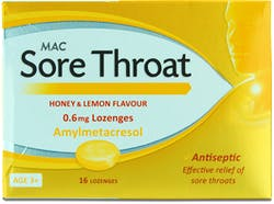 MAC Sore Throat Honey & Lemon 0.6Mmg Lozenge 16s