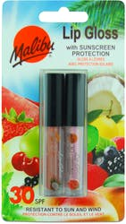 Malibu 2 Pack SPF 30 Sun protection Lip Gloss Coconut & Strawberry