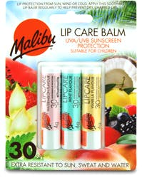 Malibu 3 Pack Lip Balm Assorted Flavours (Watermelon/Mint/Vanilla) SPF30