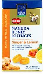 Manuka Health Honey Lozenges Ginger & Lemon 15s