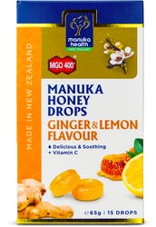 Manuka Health Honey Lozenges Ginger & Lemon 15s