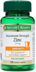Nature's Bounty Maximum Strength Zinc 25mg 100 Tablets