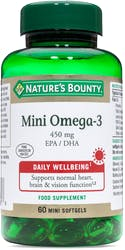 Nature's Bounty Mini Omega-3 450mg 60 Softgels