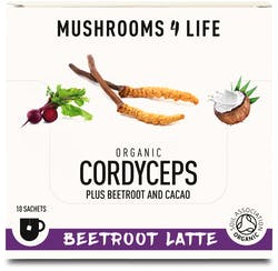 Mushrooms 4 Life Organic Cordyceps Beetroot Latte 10 Sachets