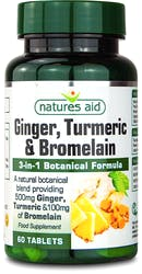 Nature's Aid Ginger, Turmeric & Bromelain 60 Tablets