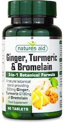 Nature's Aid Ginger, Turmeric & Bromelain 60 Tablets