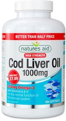 Natures Aid Cod Liver Oil 1000mg High Strength 180 Softgels