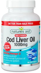 Natures Aid Cod Liver Oil 1000mg High Strength 90 Capsules