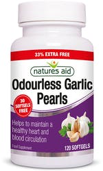Natures Odourless Aid Garlic Pearls  120 Softgels