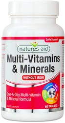 Natures Aid Multi-Vitamins & Minerals without Iron 60 Tablets