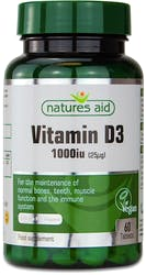 Natures Aid Vegan Vitamin D3 1000 iu 60 Tablets