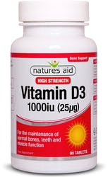 Natures Aid Vitamin D3 1000iu (25ug)  90 Tablets