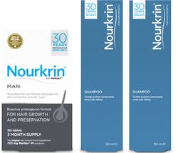 Nourkrin Man Value Pack 3 Month Supply with 2x Free Shampoo