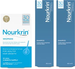 Nourkrin Woman Value Pack 3 Month Supply with 2x Free Shampoo