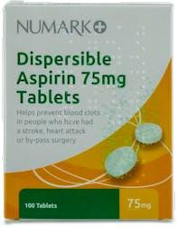 Numark Dispersible Aspirin 75mg 100 Tablets